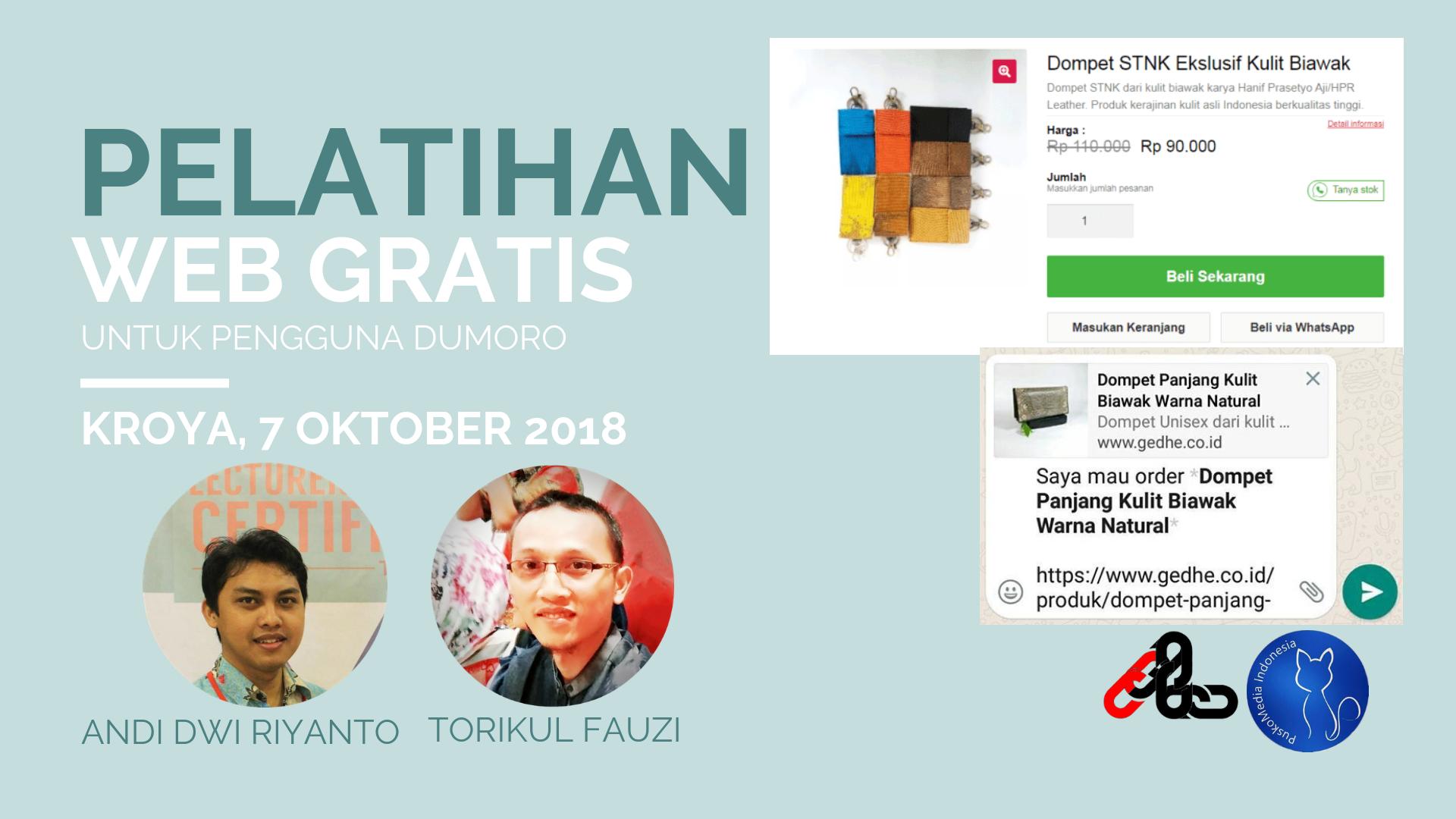 Pelatihan Web Gratis untuk Pengguna Dumoro, Kroya 7 Oktober 2018