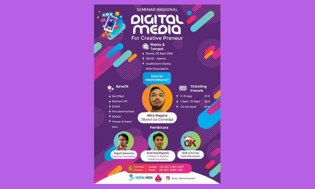 Seminar Nasional: Digital Media for Creative Preneurship - HMJ Ekonomi Syariah IAIN Purwokerto