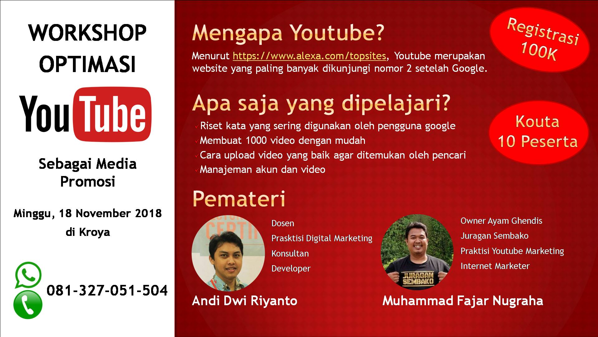 Workshop Optimasi Youtube Sebagai Media Promosi