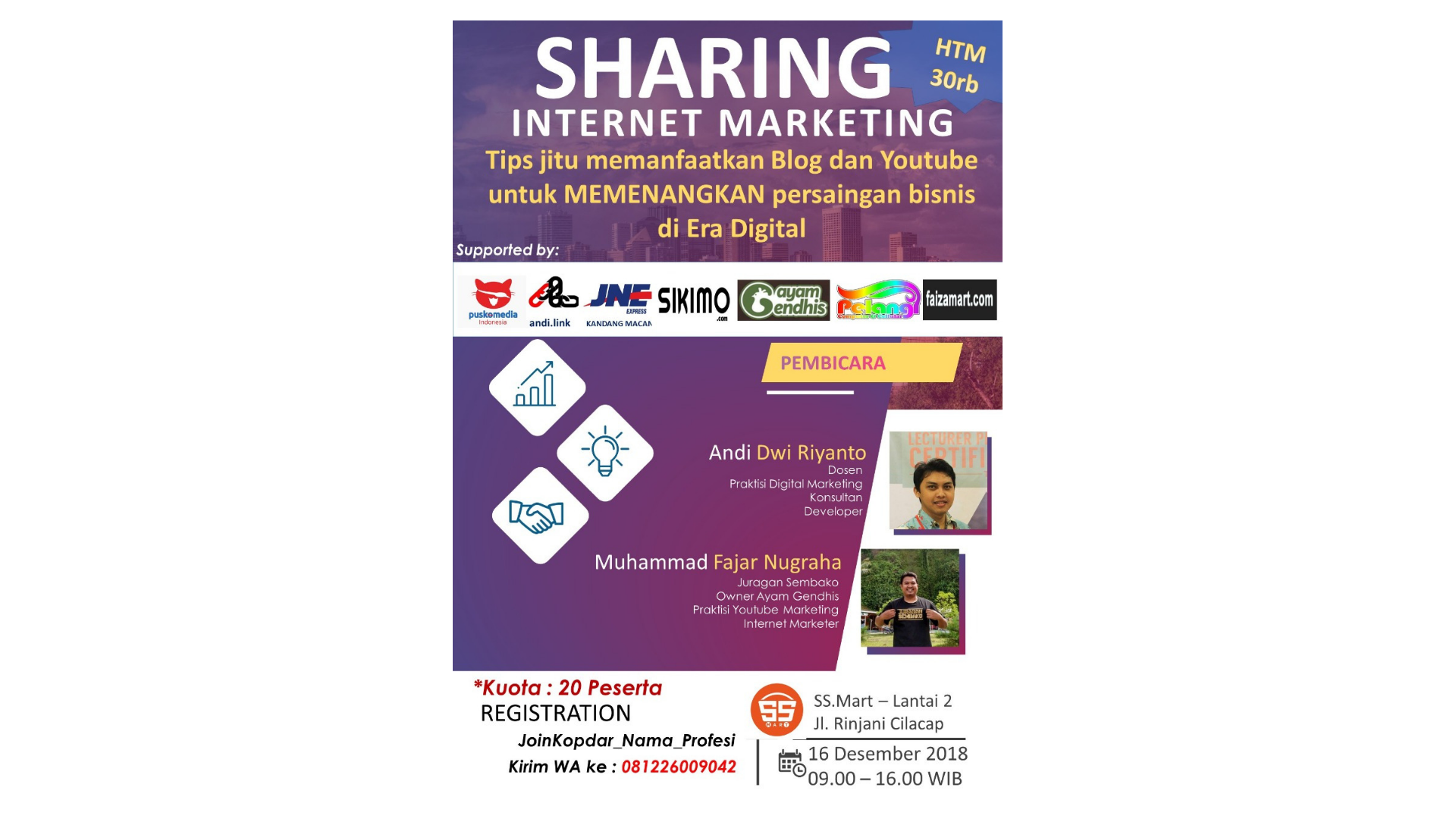 Sharing Internet Marketing, Cilacap 16 Desember 2018
